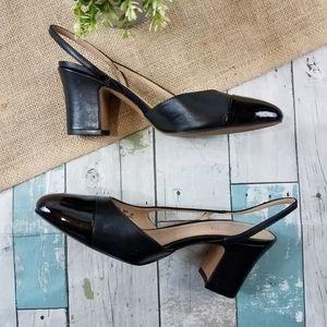 Franco Sarto Imogen Black Leather Cap Toe Heels